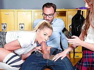 Unsighted ANGELS - Slutty college girls Izzy Inebriating and Sophia Lux seduce and blackmail their teacher