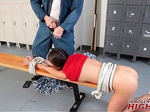 Lofty School Cheerleader Tied Up