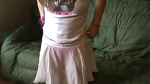 Petite teen Kitty more a cute little pink skirt