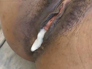 Little jet-black amateur pussy gets creampied off out of one's mind white cock