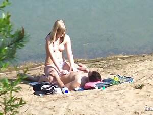 Rank Teen Couple on German Beach, Voyeur Fuck with Stranger