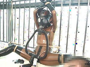Cute Japanese latex girl, rope subjugation increased by gas mask breathplay