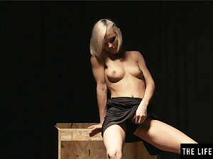 Cute blonde gets naked coupled with fingers her tight pussy avidly