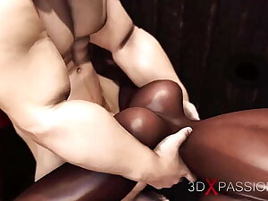 3dxpassion.com. Dark-skinned girl gets fucked hard in public glory hole by a brutal man in a give away