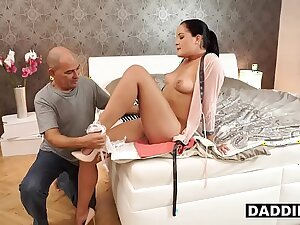 Surprised Bald Daddy Uses Opportunity To Fuck Son's Fabulous Girlfriend