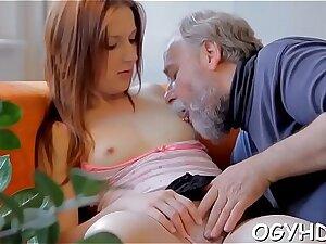 Elderly guy seduces young honey