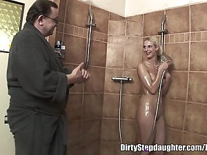 Lucky Abb� Fucks Blonde Stepdaughter In The Shower