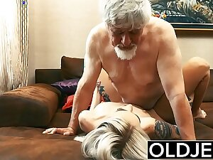 Old and Young Teen Blonde Fucked by Abb� tight pussy cock licking