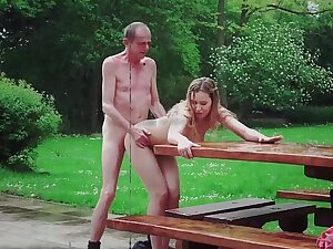 Grandpa double tight pussy fuck with pack adolescence cum eating