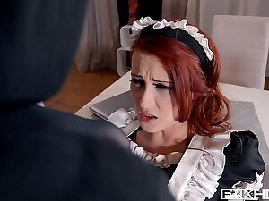 Redhead maid Isabella Lui stipulations thief catch red-handed before anal fuck