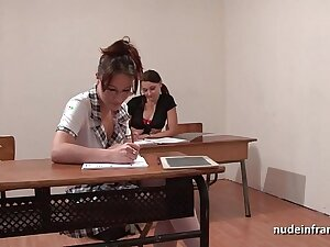 French students hard ass fucked with an increment of fisted almost FFM threesome almost classroom