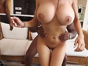 Busty muslim unfocused with huge boobs gets fucked by duo black guys.