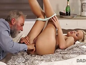 DADDY4K. Towheaded Ria Sun gets fucked by venerable male on her birthday