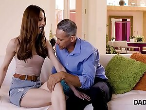 DADDY4K. Red-haired Debby gets pink pussy fucked by pop